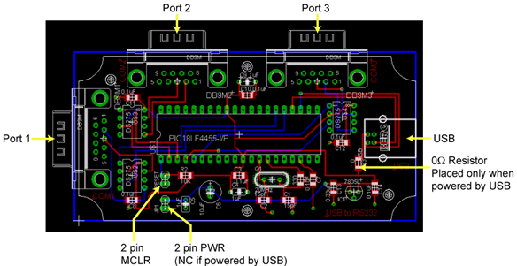 Make Schema PC via a USB    connection    to RS232 converter   Electronic Circuit    Diagram    and Layout
