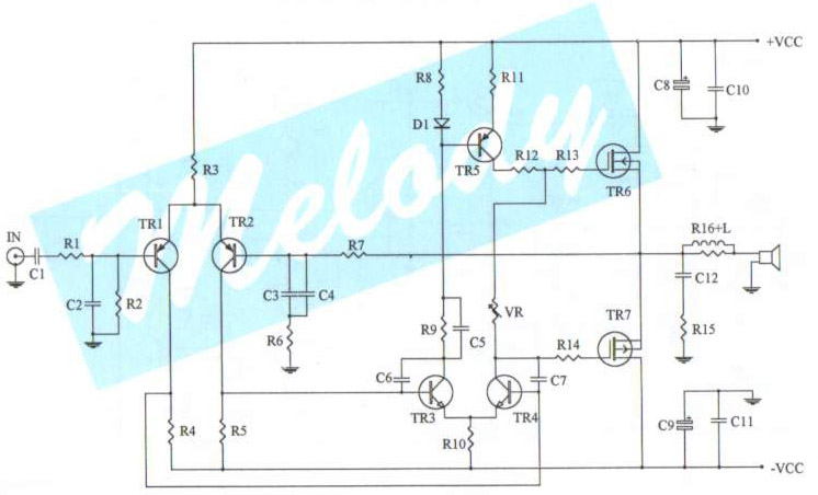 CIRCUIT DIAGRAM100 watt simple mosfet power amplifier