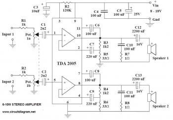 Electronics Schematic Diagram 6-10W stereo power audio amplifier with IC TDA2005