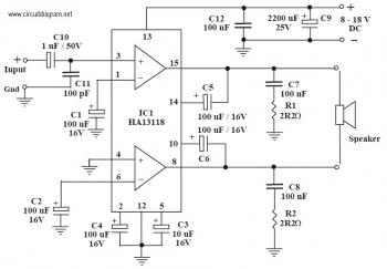 power Amp Electronics Schematic Diagram used IC HA13118 pmpo 18w