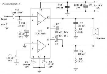 power Amp Electronics Schematic Diagram used IC HA13118 pmpo 18w