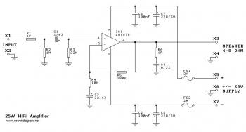 Make power amp used LM1875 30w - Electronics Schematic Diagram