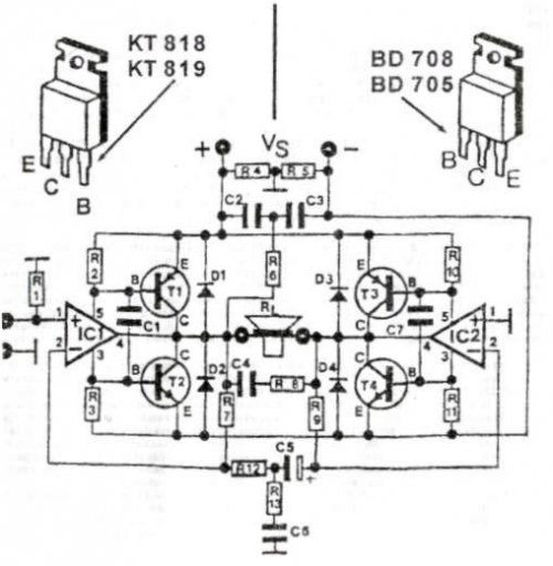 200W audio amplifier circuit diagram using TR and ic TDA2030