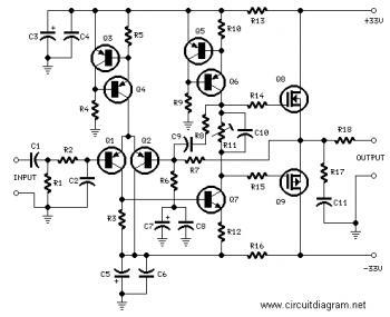 25W HiFi Audio Amplifier with MOSFET circuit diagram