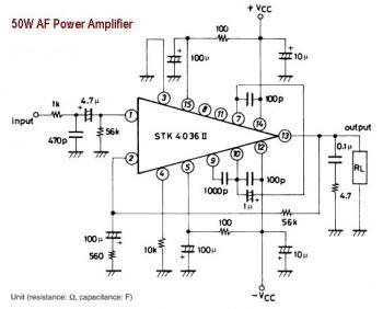 50W AF power amplifier circuit powered with single IC STK4036II.