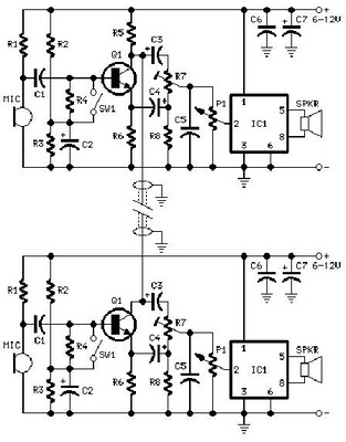 2 phone intercom circuit diagram which can be used upto 1km in rh edaboard com wireless full duplex intercom circuit diagram wireless full duplex intercom circuit diagram