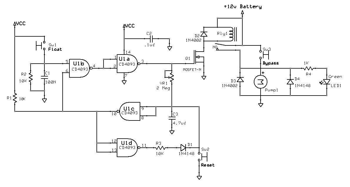 Electronic circuit design CD4093 pump control