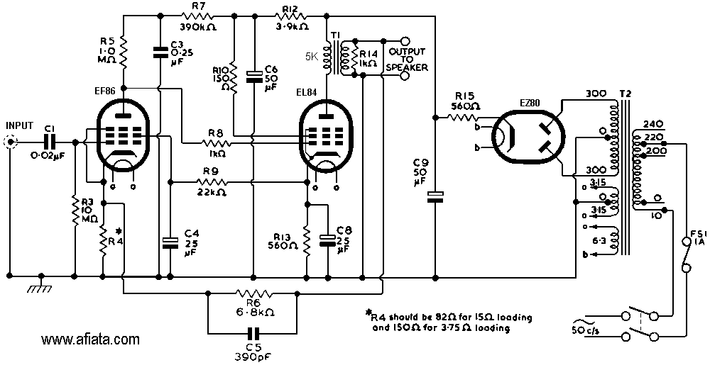 circuit diagram 15w el84 power amp and a transformer power supply schematic