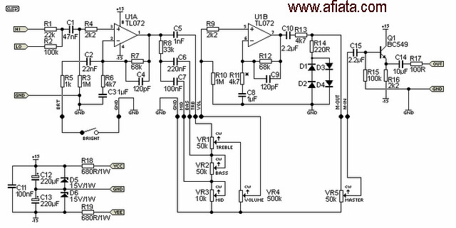 Electric       Guitar      Electronic Circuit    Diagram    and Layout