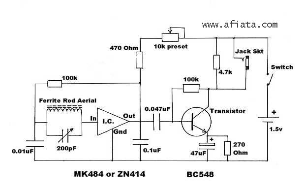 Radio Circuit using MK484 - ZN414 Bc548