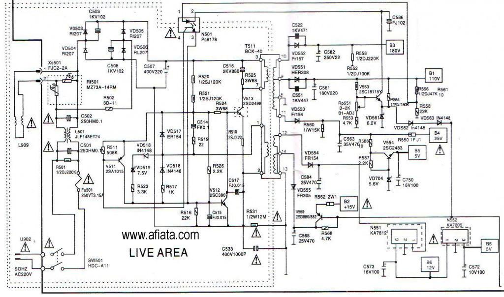 Electronic Circuit Diagram TV Power supply AC matic Using Pc8178, 2SD2498