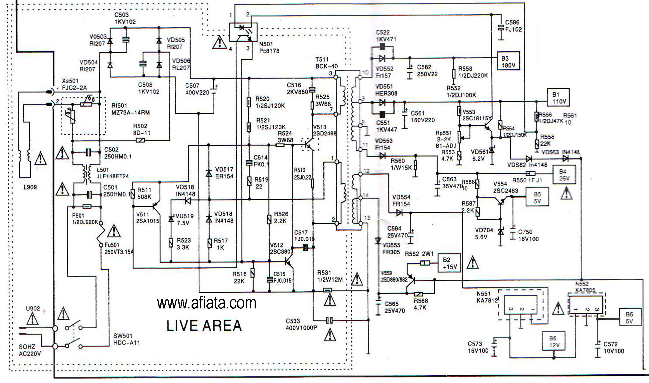 Electronic Circuit Diagram TV Power supply AC matic Using Pc8178