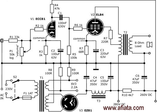 circuit diagram 15w el84 power amp and a transformer power