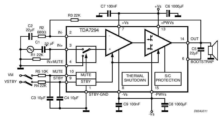 tda7294 power audio circuit diagram