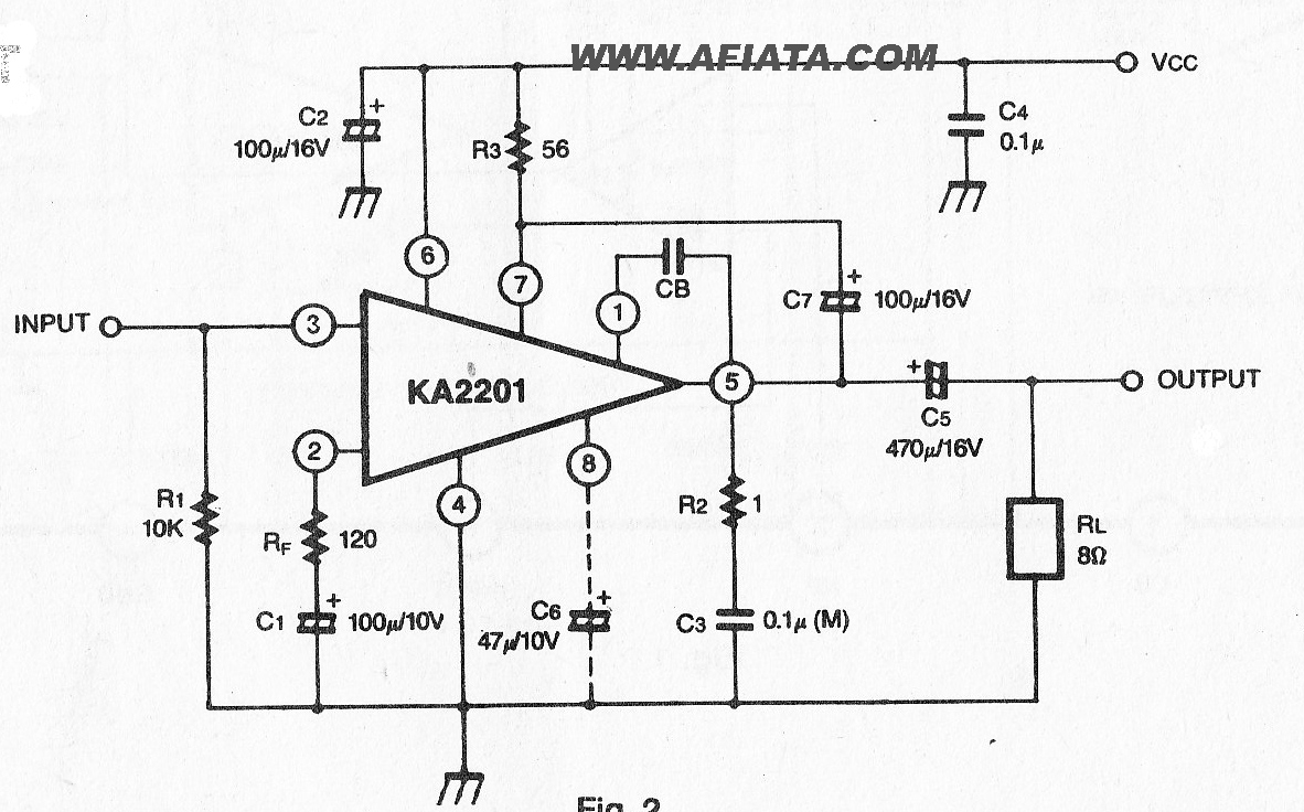 1.2W Audio Power Amplifier circuit using KA2201