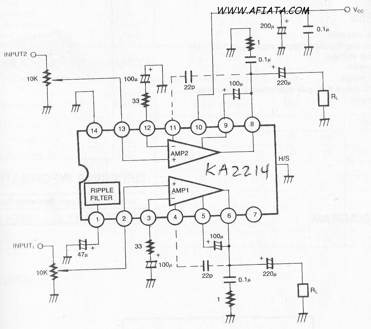 1.2W Dual Audio Power Amplifier circuit using KA2214