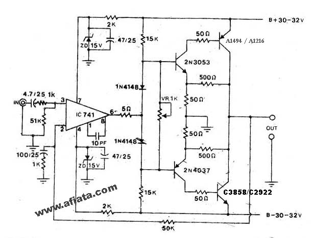 1000w - 2000W Power Amp OCL Circuit Using 741 Sanken A1494, A1216, C3858, C2922