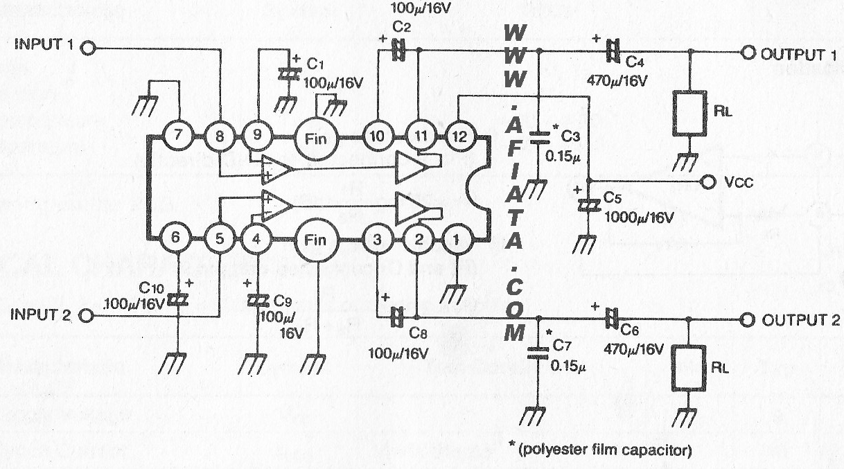 2 3w dual audio power amplifier circuit