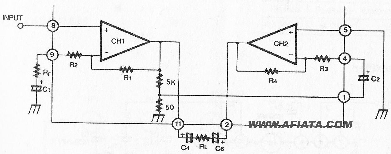 2.3W Dual Audio Power Amplifier circuit using KA2206
