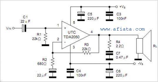 Audio Amplifier Circuit using TDA2050