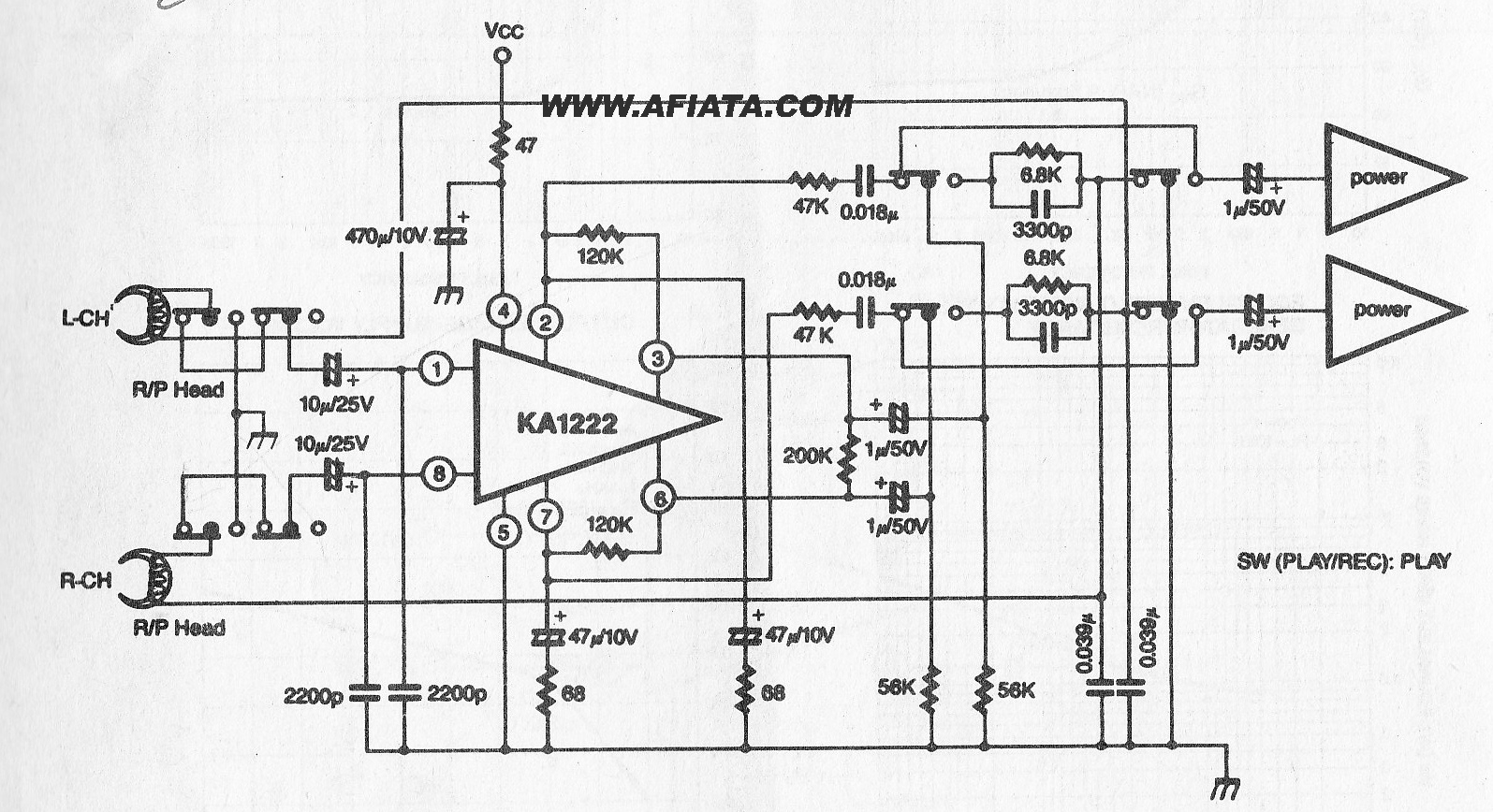 Stereo Audio Preamp schematic KA1222