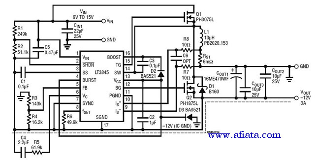 DC to DC converter step up 9V-15V 3A
