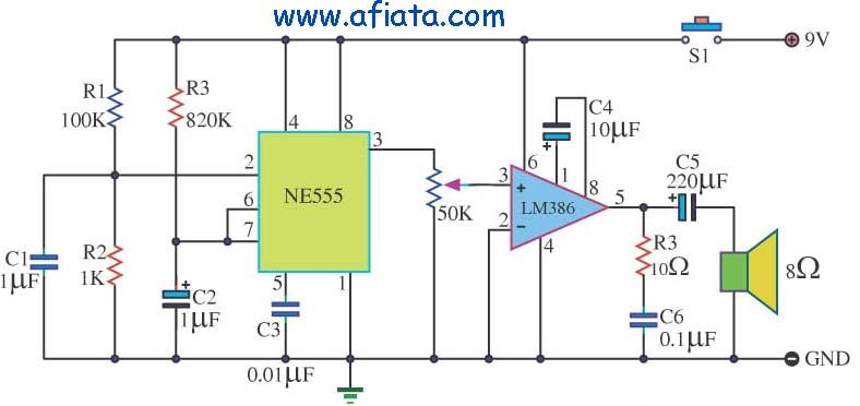 Door Buzzer circuit using NE555 + LM386