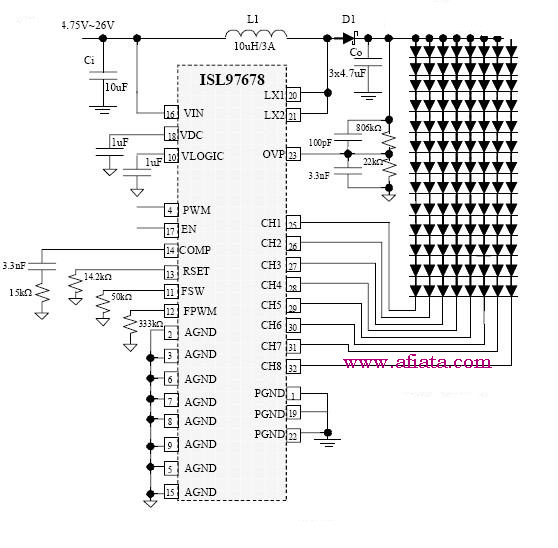 8 channel led driver circuit using isl97678