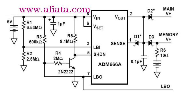 Low Battery Disconnect and Memory Backup Circuit in the ADM666A