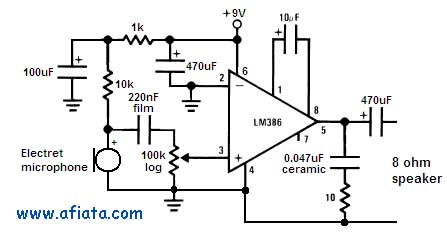 Microphone circuit using LM386
