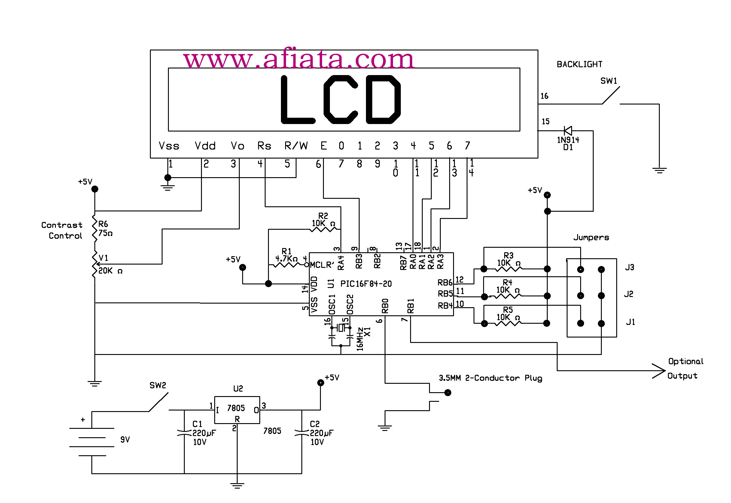 PIC16F84 circuit , for  LCD Nokia 3510i