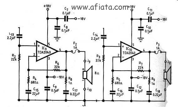 Stereo Audio Amplifier Circuit using TDA2040 | Electronic