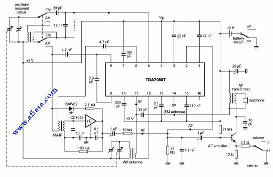 TDA7088T FM receiver circuit.