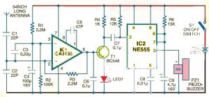 Cell Phone Detector circuit using CA3130, NE555