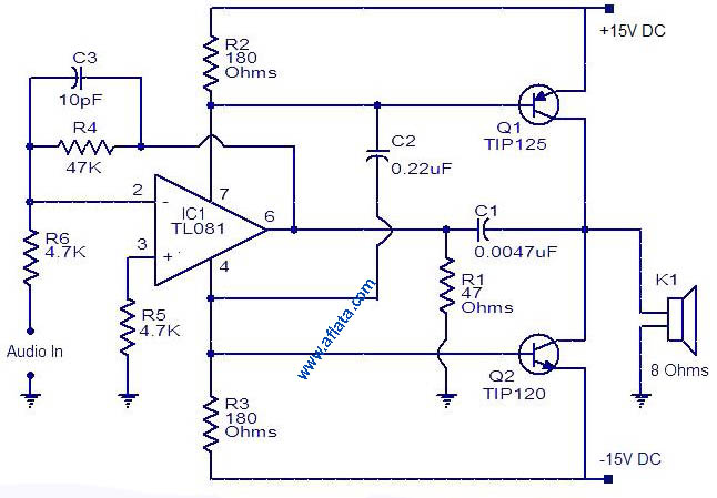 30W Audio Amplifier Circuit, Using IC TL081 and Tr TIP125, TIP120
