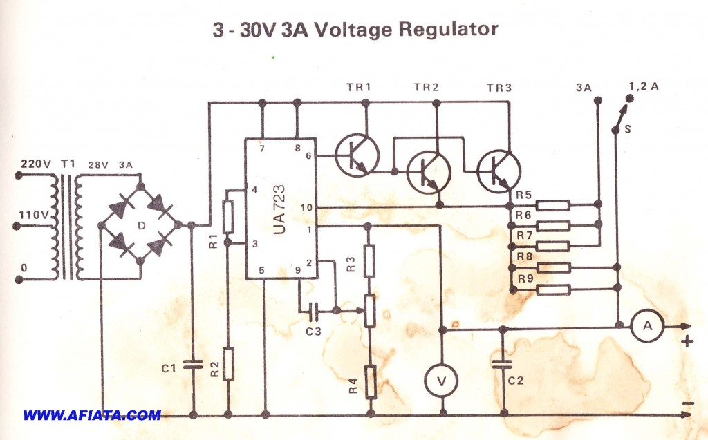 3v - 30V 3A Voltage Regulator circuit using UA723 and 2n3055