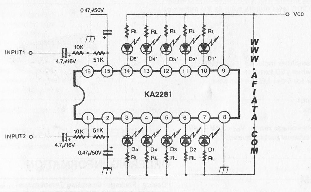 5 DOT circuit for DUAL LED LEVEL METER DRIVER using KA2281