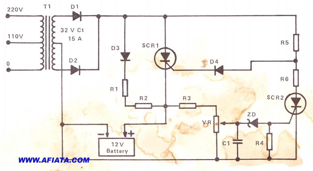 9v 15 A Charge Regulator circuit using scr