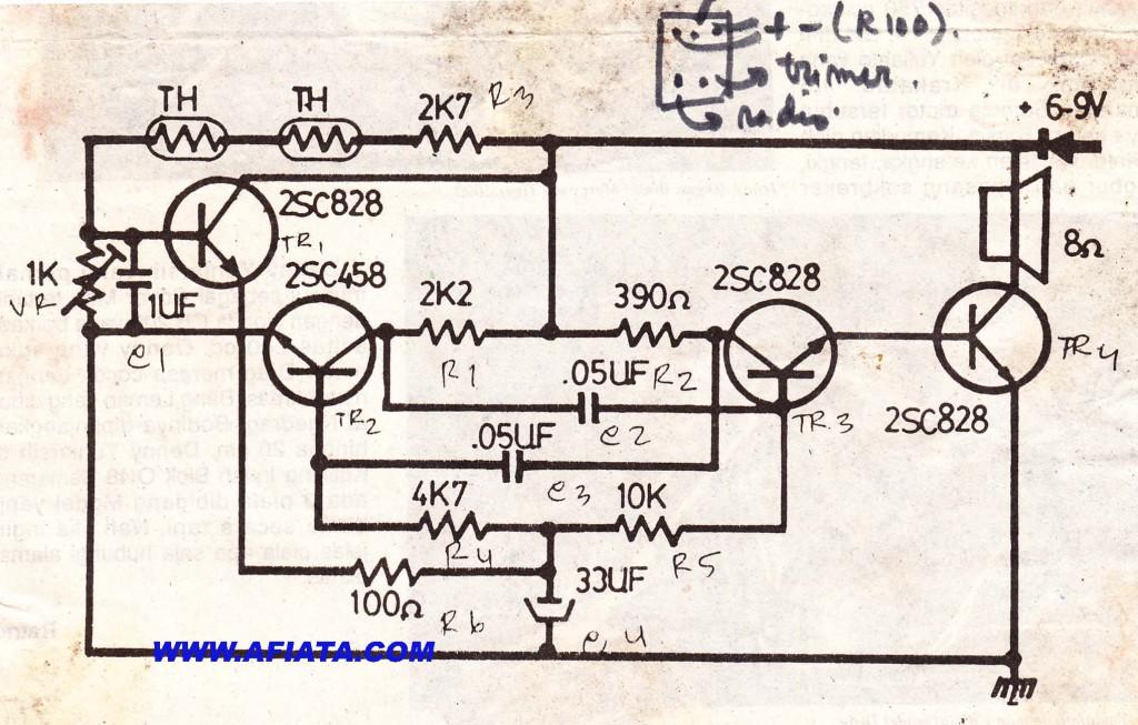 Alarm temperature circuit using C828, C458