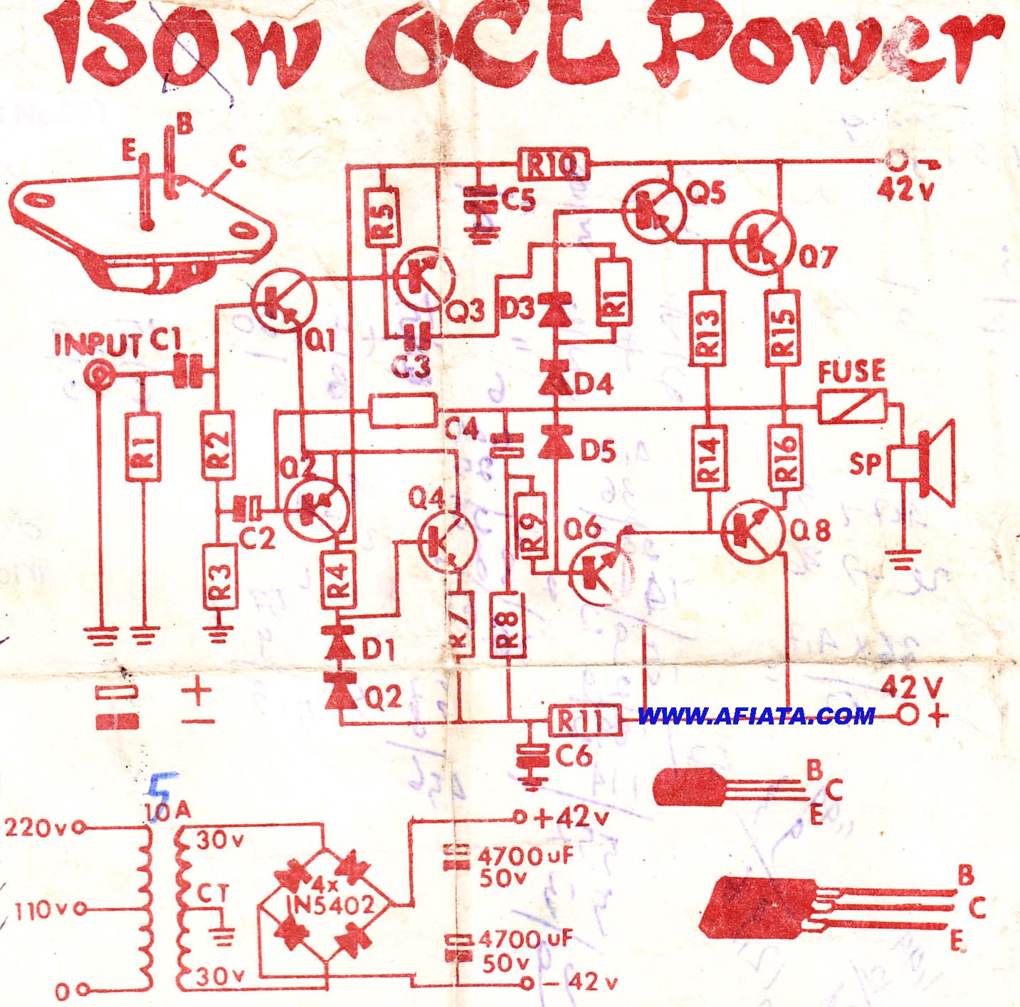 2N3055 MJ2955 Audio Amplifier circuit | Electronic Circuits ...