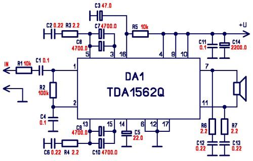 Audio amplifier circuit using TDA1562q
