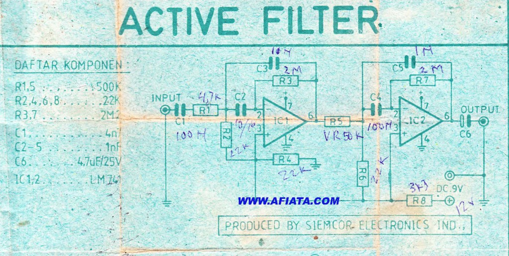 Best Audio Active high pass filter circuit using LM741