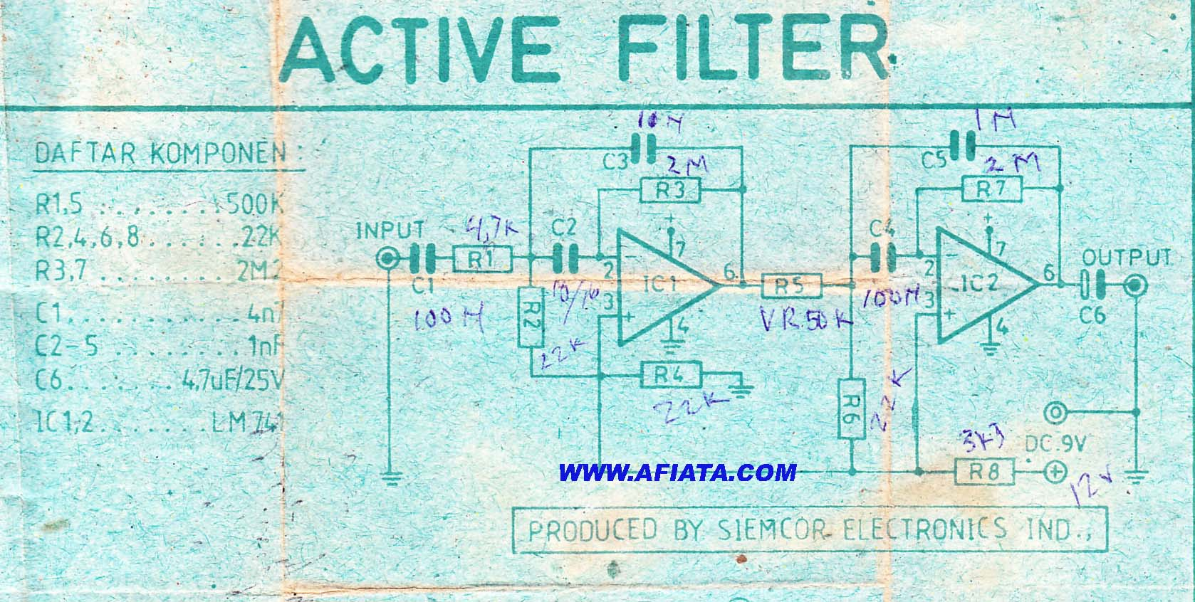 Best Audio Active High Pass Filter Electronic Circuit