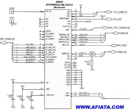 Bluetooth circuit diagram for nokia 6110n using BTHFMRDS2.0M ESA12
