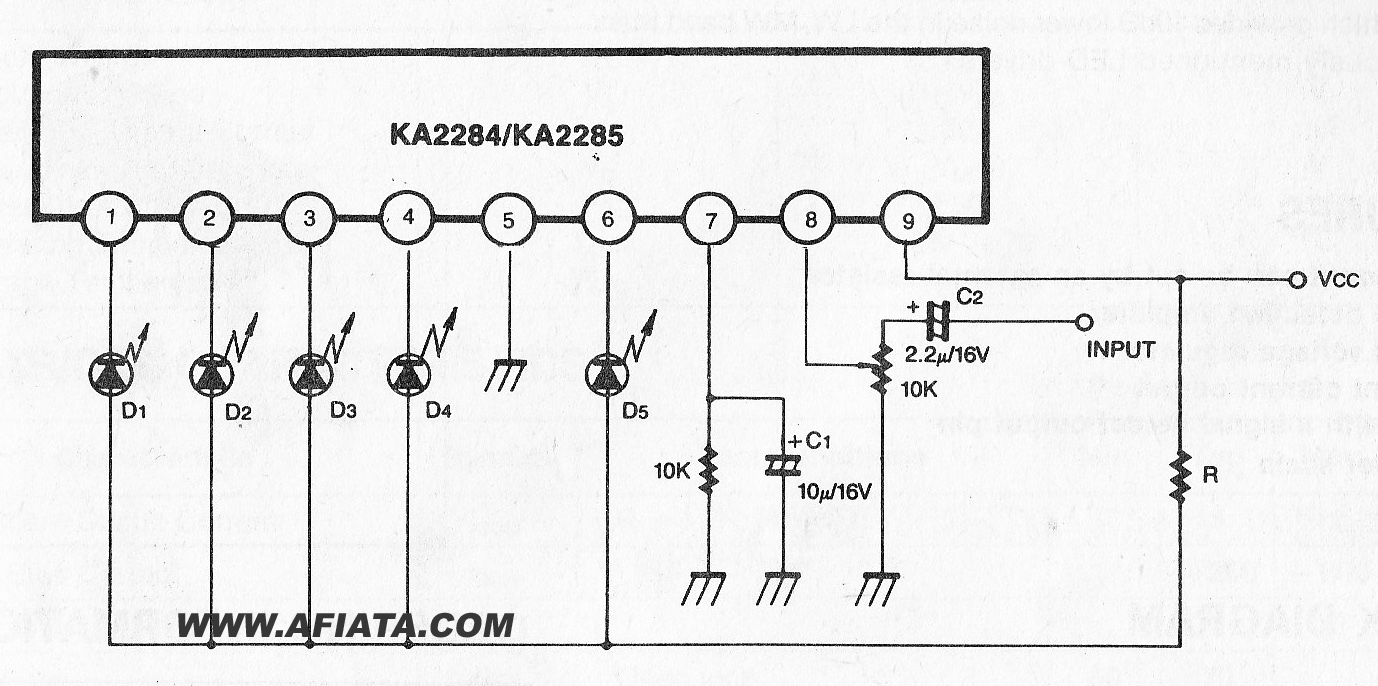 Circuits Apmilifier 5 Dot Led Linear Level Meter Driver Circuit Switching Regulators Using Lm2575 And Lm2577 Ka2287