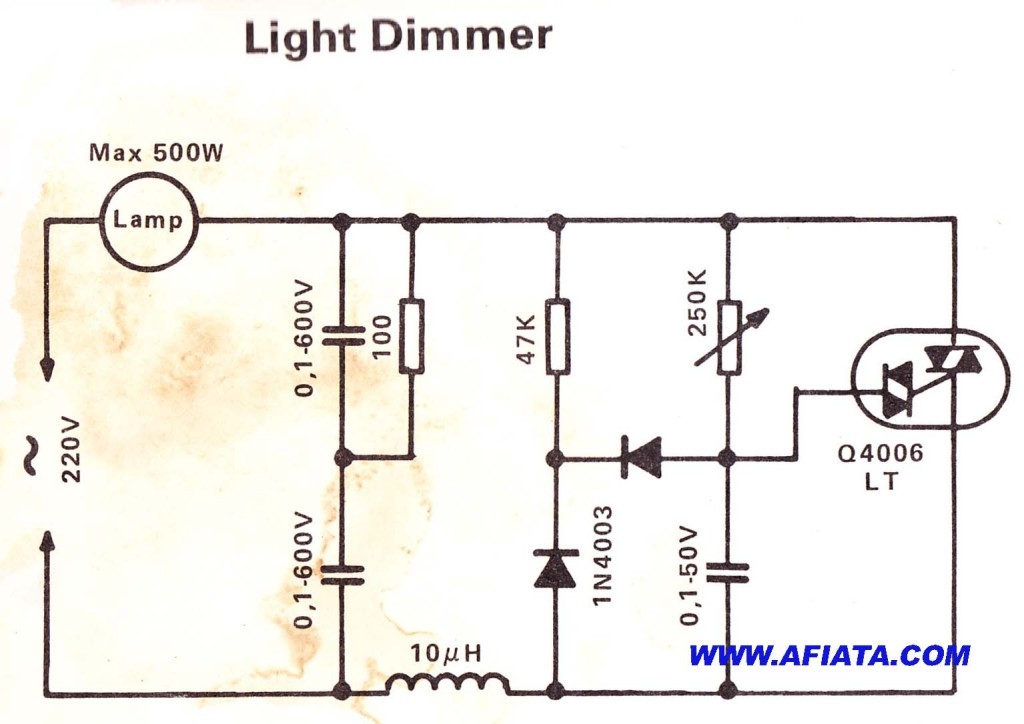 simple light dimmer circuit electronic circuit diagram and layout