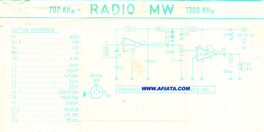 Radio 810 mw using  LM386 and  ZN414
