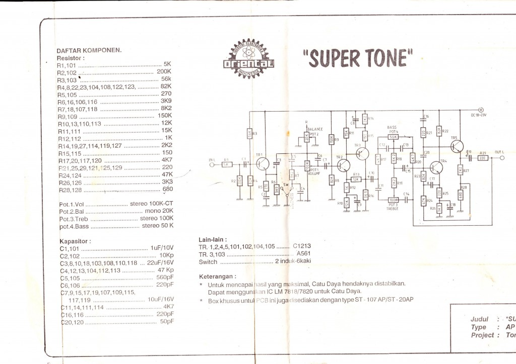 Tone Control circuit Electronic Circuit Diagram and Layout