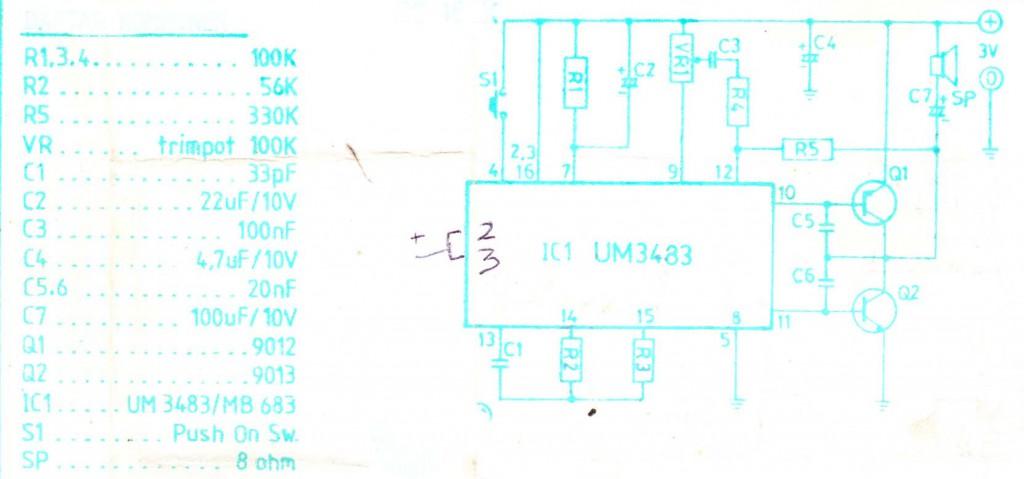 Alarm music for sensor circuit using UM3483