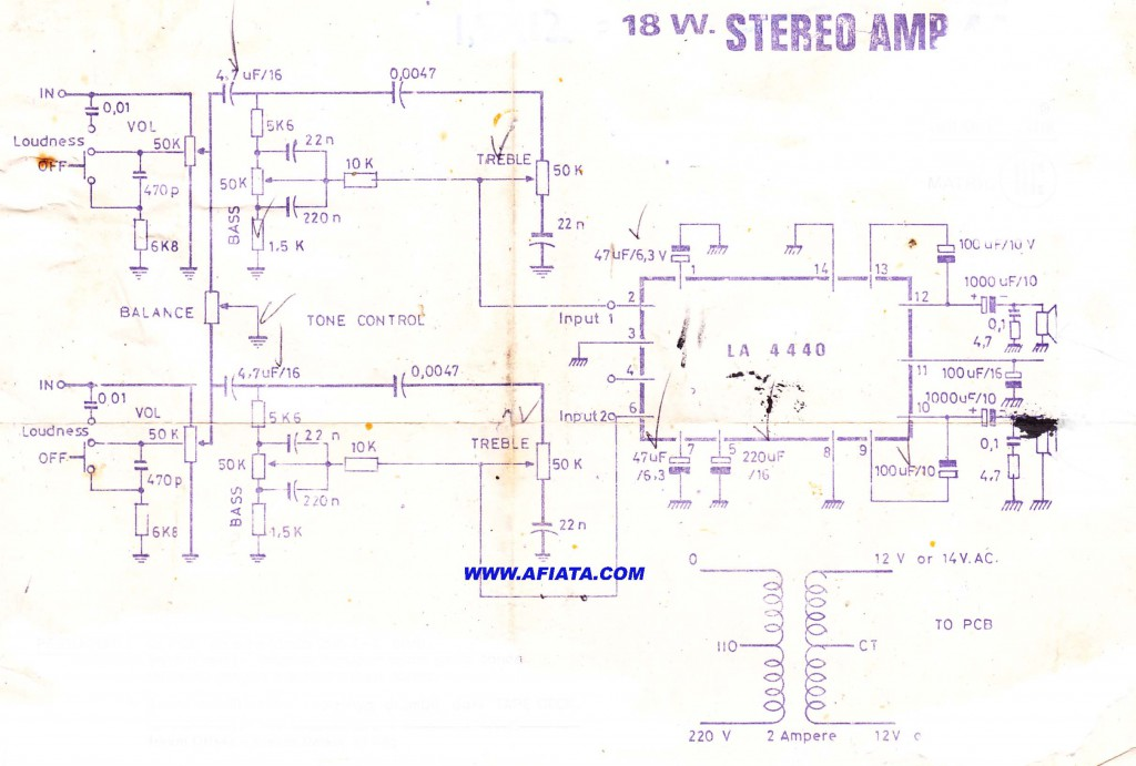 18W Audio Amplifier circuit using LA4440